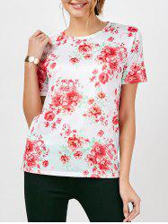 Short Sleeve Crew Neck Floral Top