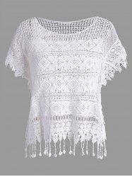 Dolman Sleeve Crochet Lace Fringed Blouse