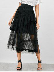 High Waisted Layer Mesh Lace Insert Skirt