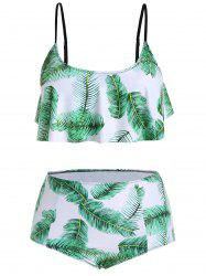 Plus Size Ruffle Tropical Palm Leaf Print Bikini