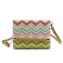 Straw Chevron Crossbody Bag