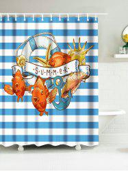 Fish Anchor Polyester Stripe Nautical Shower Curtains