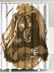 Bathroom Fabric Shower Curtain with Bear Print