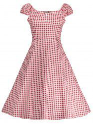 Gingham High Waisted A Line Robe vintage - Rouge M