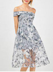 Floral Off The Shoulder 50s Organza Dress