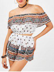Off The Shoulder Crop Top and Drawstring Shorts - WHITE