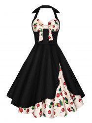 Cherry Print Halter Skater Vintage Dress - Noir