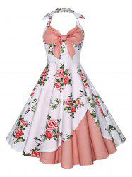 Halter Floral Print Vintage Dress - ROSE PÂLE