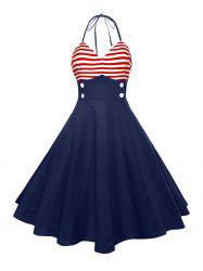 Halter American Flag Vintage Dress - Rouge