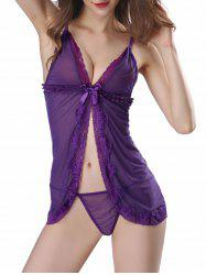 Split Front Sleepwear Mesh Sheer Babydoll - PURPLE