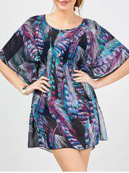 Feather Pattern Batwing Sleeve Cover-up Dress
