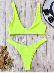 High Cut Scoop Neck Bikini Set - NEON YELLOW