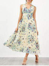 Bohemian Butterfly Print Tea Length Maxi Dress