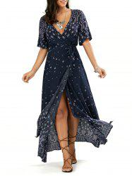 Boho Paisley Slit Wrap Maxi Dress - PURPLISH BLUE