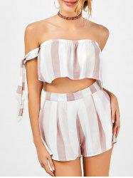 Stripe Strapless Top and High Waisted Shorts - RED WITH WHITE