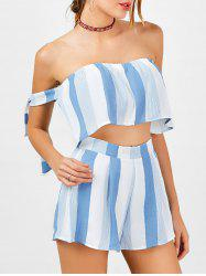 Stripe Strapless Top and High Waisted Shorts - BLUE AND WHITE