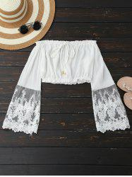 Embroidered Mesh Panel Cropped Blouse -