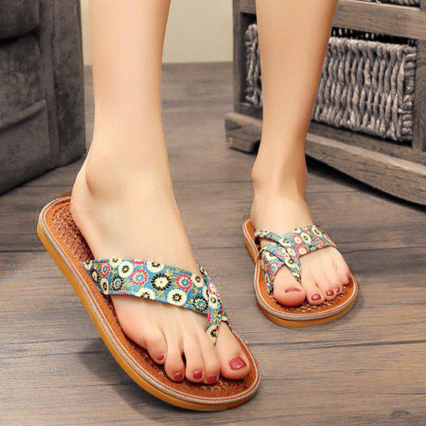 Hot Floral Print Flat Heel Slippers