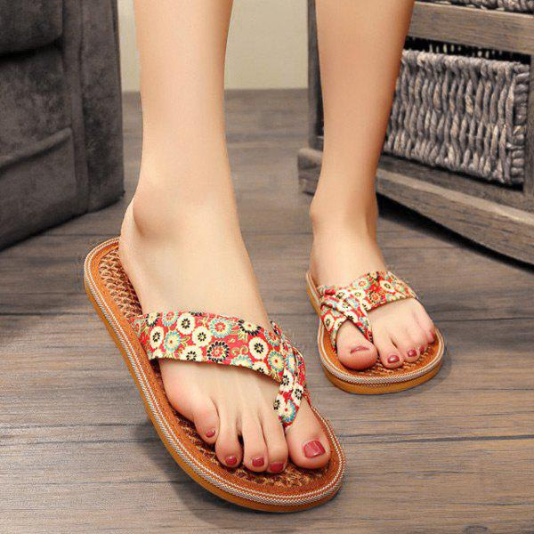 Outfit Floral Print Flat Heel Slippers