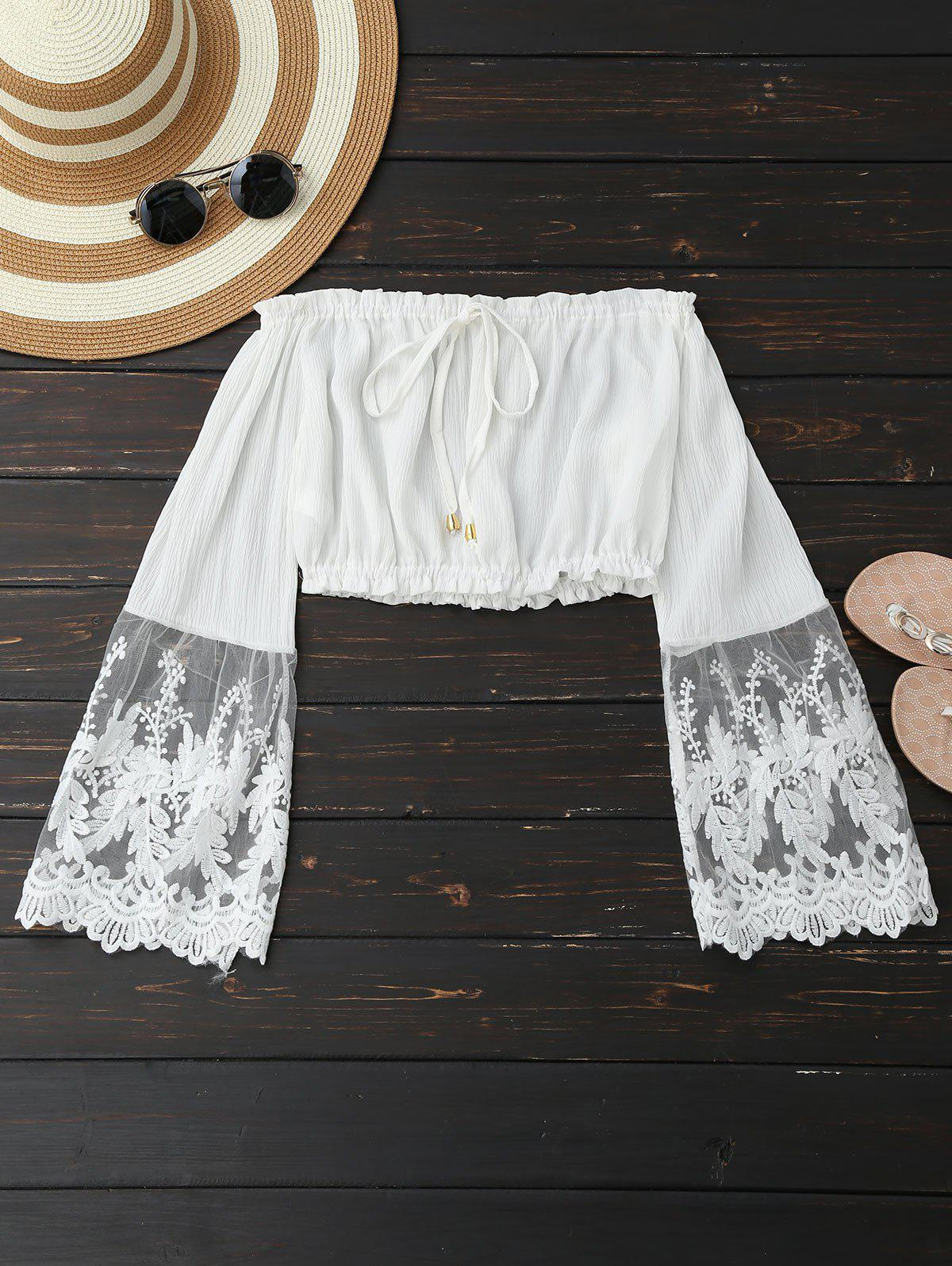 Sale Embroidered Mesh Panel Cropped Blouse