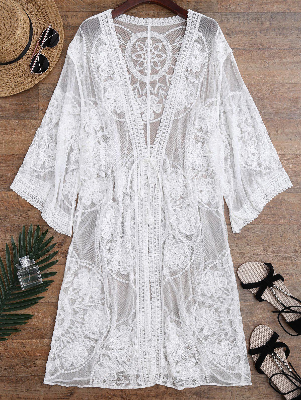 Shops Embroidered Sheer Kimono Cover Up