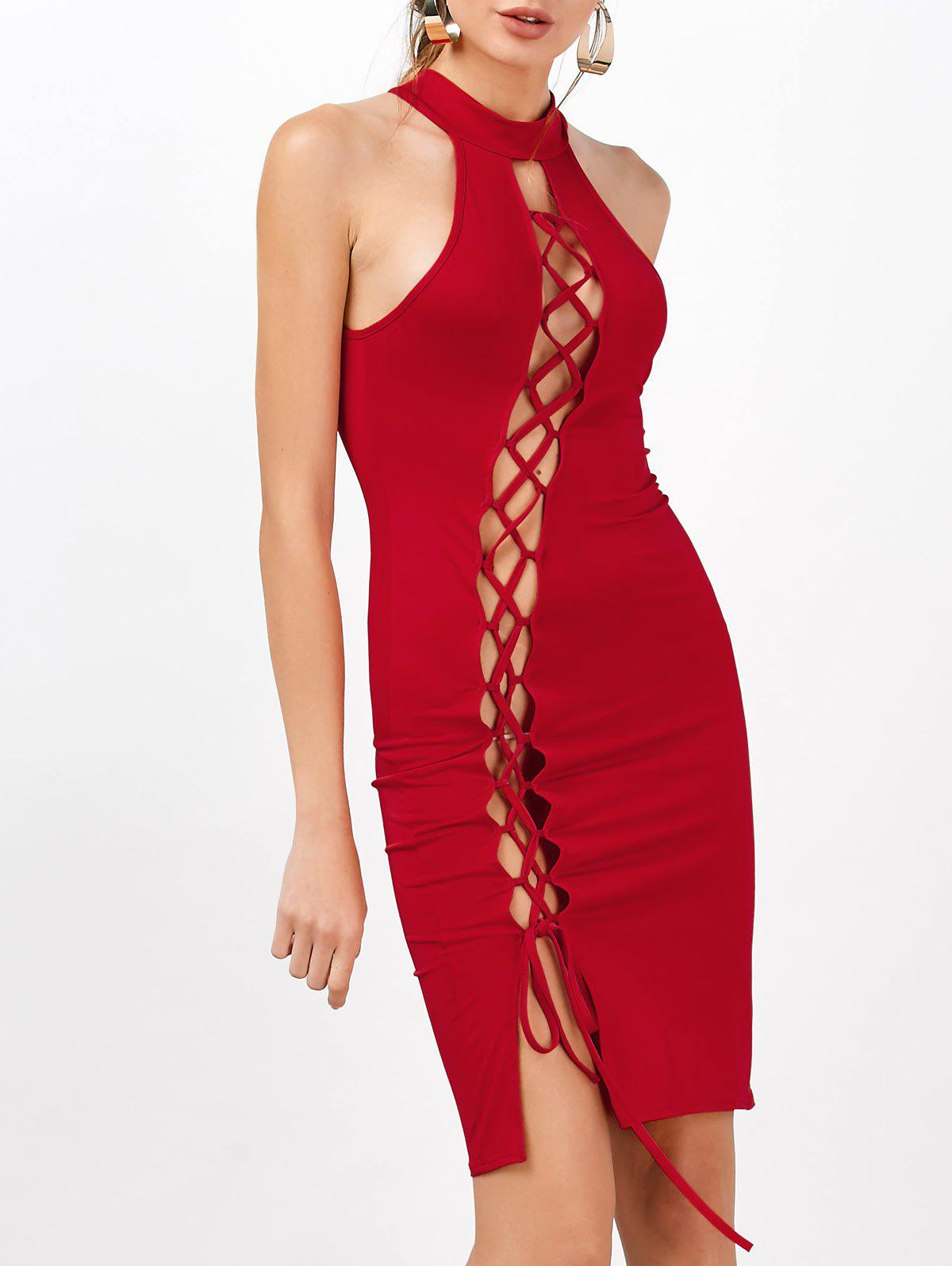 Criss Cross Backless Bodycon Club High Neck Hot DressWOMEN<br><br>Size: S; Color: RED; Style: Sexy &amp; Club; Material: Polyester; Silhouette: Sheath; Dresses Length: Knee-Length; Neckline: High Neck; Sleeve Length: Sleeveless; Waist: Natural; Embellishment: Criss-Cross; Pattern Type: Solid Color; With Belt: No; Season: Summer; Weight: 0.2200kg; Package Contents: 1 x Dress; Occasion: Club,Night Out,Party;