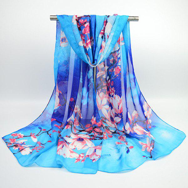 Flowering Branch Printed Chiffon Lightsome Shawl ScarfACCESSORIES<br><br>Color: BLUE; Scarf Type: Scarf; Group: Adult; Gender: For Women; Style: Vintage; Material: Polyester; Pattern Type: Floral,Print; Season: Fall,Spring,Summer,Winter; Scarf Length: 155CM; Scarf Width (CM): 50CM; Weight: 0.0400kg; Package Contents: 1 x Scarf;