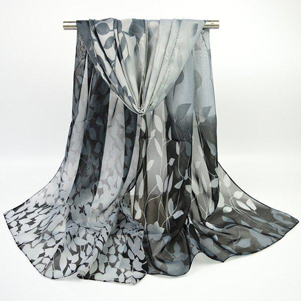 Fine Gauze Chiffon Ombre Floral Printing ScarfACCESSORIES<br><br>Color: BLACK; Scarf Type: Scarf; Group: Adult; Gender: For Women; Style: Vintage; Material: Polyester; Pattern Type: Floral,Print; Season: Fall,Spring,Summer,Winter; Scarf Length: 155CM; Scarf Width (CM): 50CM; Weight: 0.0400kg; Package Contents: 1 x Scarf;