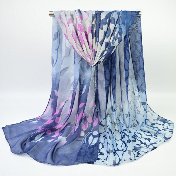 Fine Gauze Chiffon Ombre Floral Printing ScarfACCESSORIES<br><br>Color: DEEP BLUE; Scarf Type: Scarf; Group: Adult; Gender: For Women; Style: Vintage; Material: Polyester; Pattern Type: Floral,Print; Season: Fall,Spring,Summer,Winter; Scarf Length: 155CM; Scarf Width (CM): 50CM; Weight: 0.0400kg; Package Contents: 1 x Scarf;