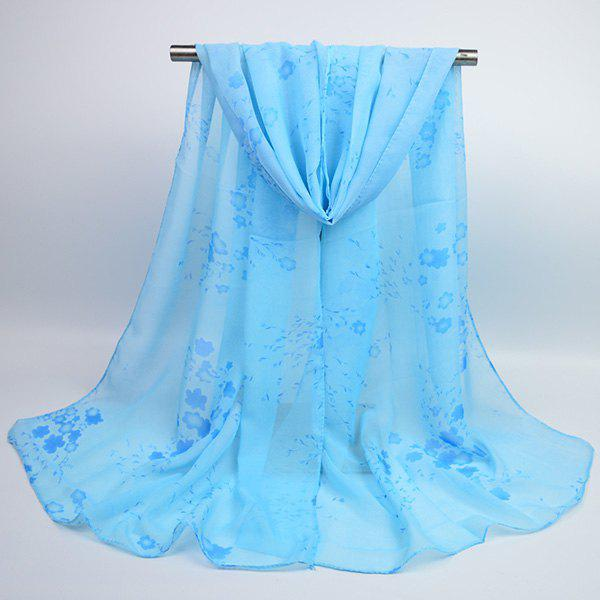 Tiny Flowers Printed Chiffon Gossamer Shawl ScarfACCESSORIES<br><br>Color: AZURE; Scarf Type: Scarf; Group: Adult; Gender: For Women; Style: Vintage; Material: Polyester; Pattern Type: Floral,Print; Season: Fall,Spring,Summer,Winter; Scarf Length: 155CM; Scarf Width (CM): 50CM; Weight: 0.0400kg; Package Contents: 1 x Scarf;