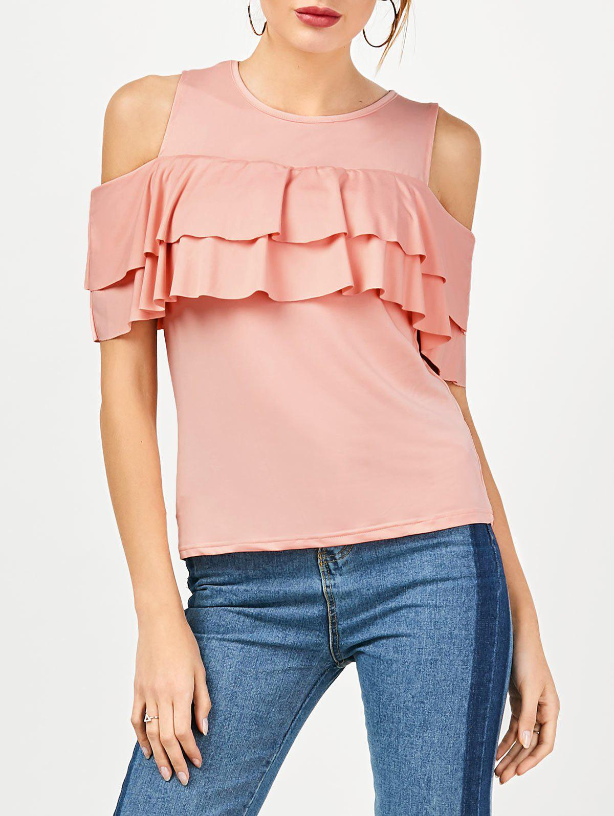 Outfits Ruffle Cold Shoulder Top