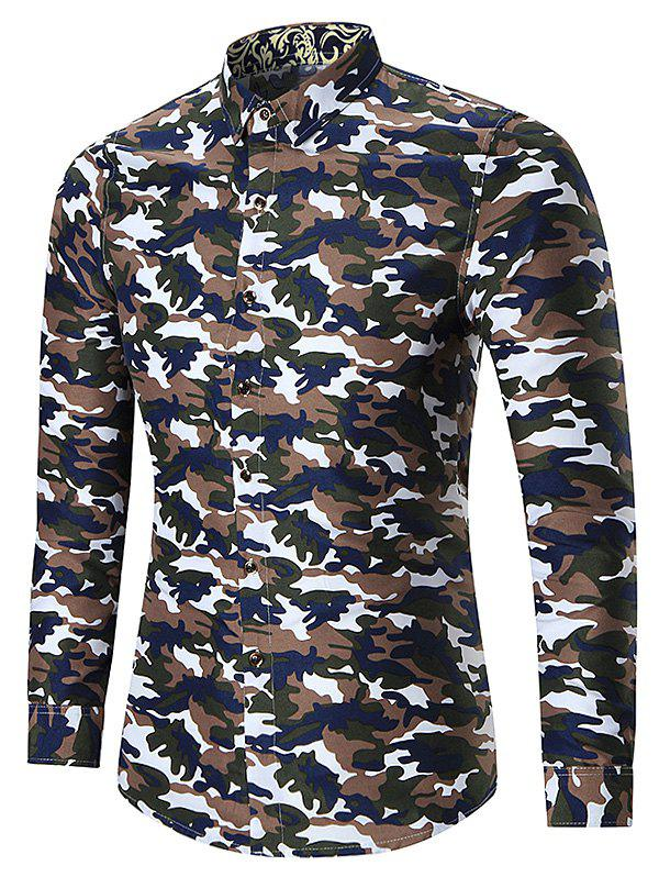 Latest Plus Size Long Sleeve Camouflage Shirt