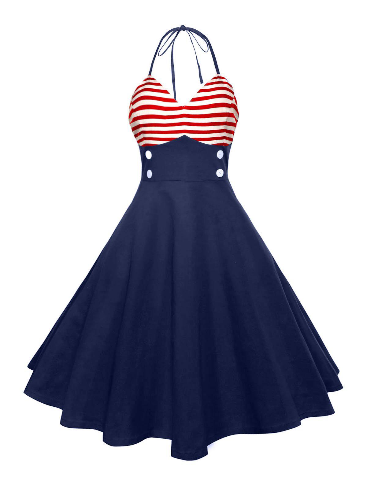 Halter American Flag Vintage DressWOMEN<br><br>Size: XL; Color: RED; Style: Vintage; Material: Polyester; Silhouette: A-Line; Dresses Length: Knee-Length; Neckline: Halter; Sleeve Length: Sleeveless; Pattern Type: Striped; With Belt: No; Season: Summer; Weight: 0.4500kg; Package Contents: 1 x Dress;