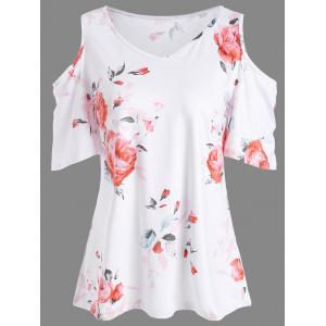 Floral Print Cold Shoulder V Neck Tee - Jacinth - L