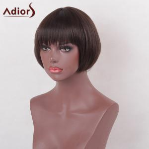 Adiors Full Bang Short Bob Silky Straight Heat Resistant Synthetic Wig -