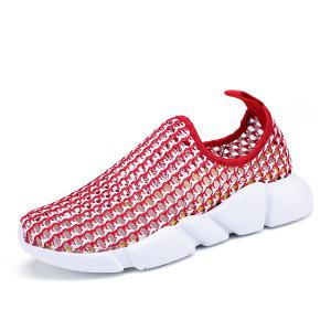 Color Block Breathable Athletic Shoes - RED 39