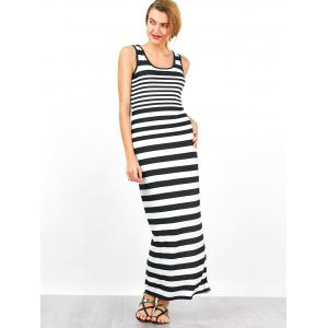 Jersey à rayures sans manches, robe maxi -