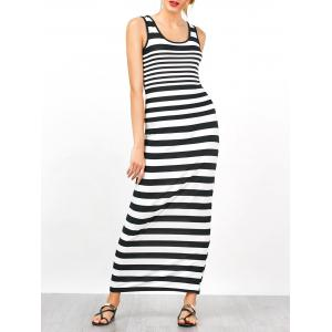 Jersey Striped Sleeveless Tank Maxi Dress