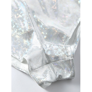 Backless Plunging One Piece Holographic Fabric Swimsuit - SILVER WHITE S