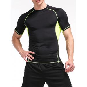 Fitness Color Block Openwork Panel Gym T-Shirt - Black And Green - M