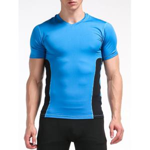 Stretchy Color Block Openwork Panel Fitness T-Shirt - Blue - M