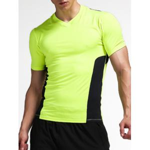 Stretchy Color Block Openwork Panel Fitness T-Shirt - Neon Green - Xl