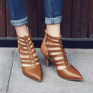 Zipper Strappy Pointed Toe Pumps - LIGHT BROWN 38