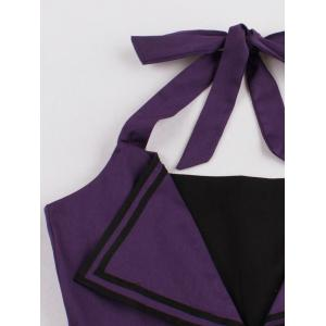 Backless Buttoned A Line Halter Vintage Dress - PURPLE XL