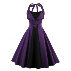 Backless Buttoned A Line Halter Vintage Dress