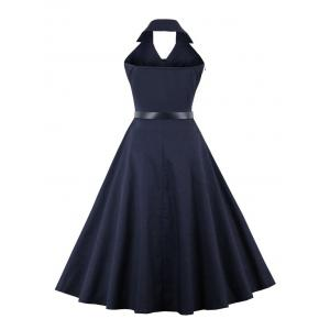 Buttoned Backless Skater Vintage Dress - PURPLISH BLUE S