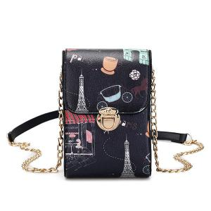 Push Lock Print Mini Crossbody Bag - Black