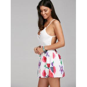 Sleeveless Criss Cross Backless Floral Romper - COLORMIX XL