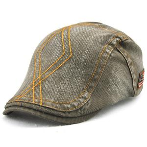 Rhombic Embroidered Nostalgic Denim Flat Cap - Army Green