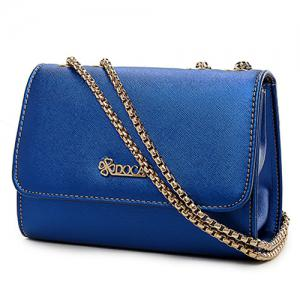 Faux Leather Chain Crossbody Bag -